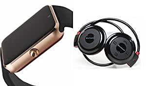MIRZA Bluetooth GT08 Smart Watch & Bluetooth Headset for LG g5 se(Mini 503 Bluetooth Headset & GT08 Smart Watch Watch Phone with Camera & SIM Card Support Hot Fashion New Arrival Best Selling Premium Quality Lowest Price with Apps like Facebook,Whatsapp, Twitter, Sports, Health, Pedometer, Sedentary Remind,Compatible with Android iOS Mobile Tablet-Assorted Color)