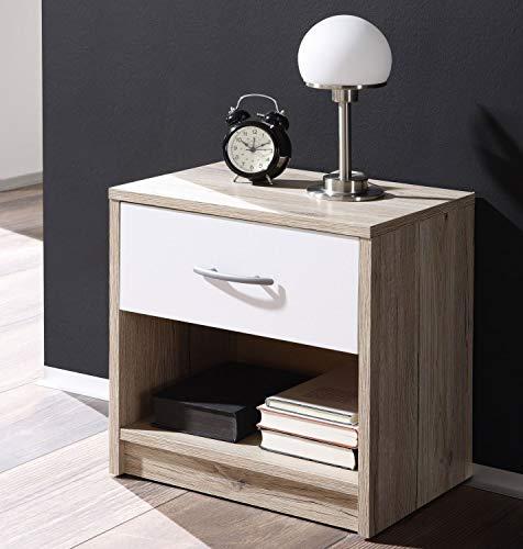 Stella Trading Comodino, Bianco, 28 x 39 x 41 cm, legno