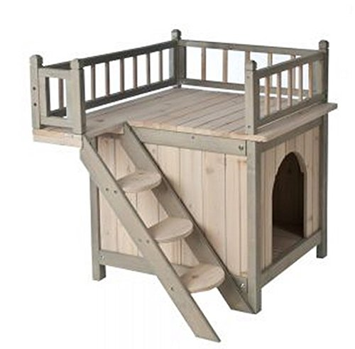 Indoor-Wooden-Dog-Cat-House-Den-Finished-in-a-Grey-and-White-Colour-is-a-Fairytale-Wood-Kennel-For-Your-Cat-or-Dog-With-a-Roof-Terrace-and-Cosy-Bedroom-its-a-Home-For-Discerning-Cats-and-Dogs