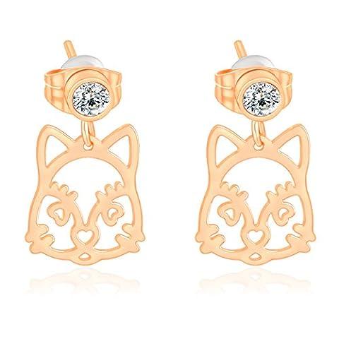 X&Y ANGEL 2015 ER0680 Damen-Ohrringe, 18 Karat Gold-gefüllt, österreichische Kristalle, quadratisch