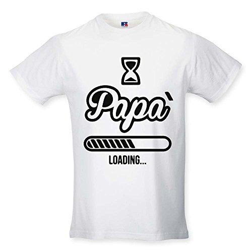 T Shirt Maglia Maglietta Idea Regalo per Il Papa' Papa' Loading L Bianca