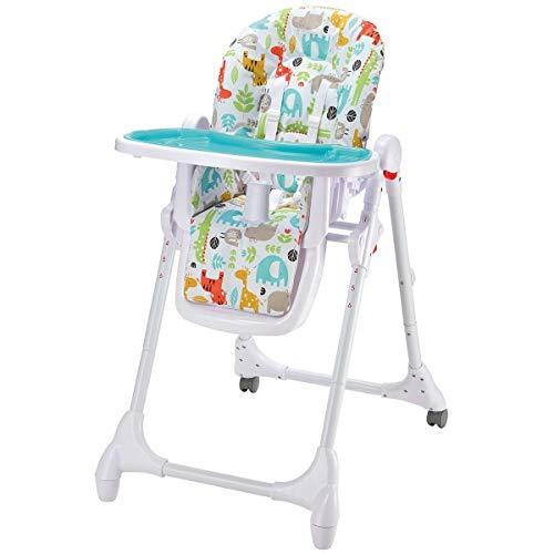 Babyhochstuhl 4in1 mitwachsend   Babystuhl mit Liegefunktion   Kinderhochstuhl Tisch mit abnehmbarem Tablett   Hochstuhl mit Sitzpolster, Gurt & höhenverstellbar & klappbar, Design:Animals türkis