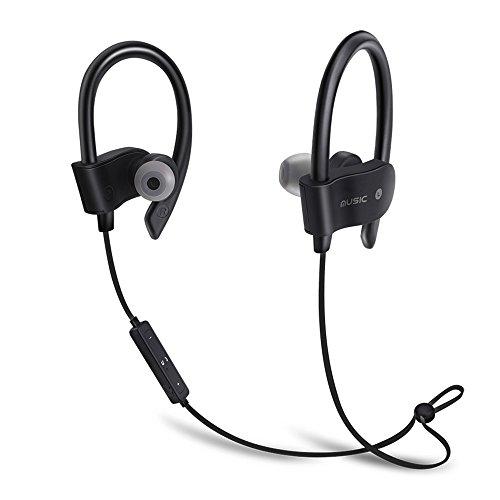 Bluetooth Kopfhörer - EUGO Bluetooth 4.1 Wireless Headset In Ear Ohrhörer Noise Cancelling Schweißschutz Sport Ohrhörer für Joggen, Workout, Fitness, Headphones mit Mikrofon für iPhone, Android, MP3 & Weitere - Schwarz Ich Sport Wireless Kopfhörer