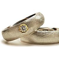 Eheringe Set Silber Gold mit Moissanit very good, Klassische Trauringe aus massivem Sterlingsilber - handgefertigt by SILVERLOUNGE