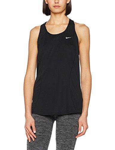 Nike Racer Tank-Maglietta per donna, Donna, Negro / Plateado (Black/Black/Black/Reflective Silv), XS