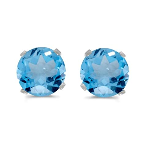 14k White Gold Round Blue Topaz Stud Earrings by Direct-Jewelry