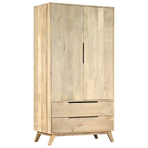 Festnight Kleiderschrank 100 x 55 x 190 cm Massives Mangoholz Schlafzimmer Garderobenschrank Holzschrank