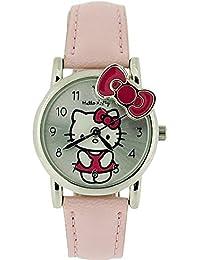 Hello Kitty Mädchenuhr, sibernes Zifferb. & babyrosa Kittyschleife PU Uhrband