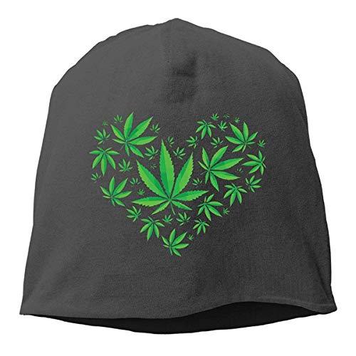 Preisvergleich Produktbild MLNHY Heart Marijuana Leaf Weed Love Pot Winter Beanie Skull Cap Warm Knit Ski Slouchy Hat Durable