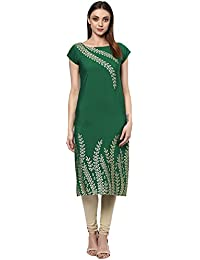 ZIYAA Women's Green Color Self Print Straight Crepe Kurta
