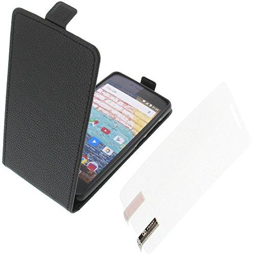 foto-kontor Tasche für Archos 50e Neon Smartphone Flipstyle Schutz Hülle schwarz + Schutzfolie