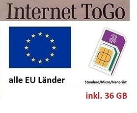 Prepaid Daten SIM Karte (Mobiles Internet) für die Ganze EU mit 36 GB (Italien, Spanien, Frankreich, Österreich, Deutschland, Schweden, Griechenland, Kroatien,…)