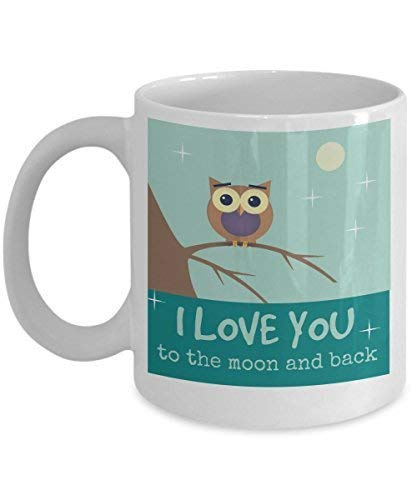 GWrix Owl Mugs Coffee Valentine's Day Cute Lover s-Best Present for Beloved one- I Love You to The Moon and Back-Great Tea Cup