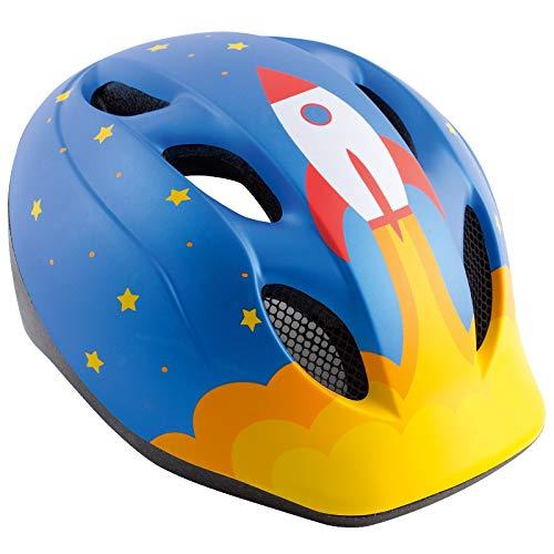 MET Super Buddy Fahrrad Helm Baby Kleinkinder Fahrrad Scooter Kindersitz Hänger Halbschale, MTO, Farbe Rakete - Blau, Größe 46-53 cm