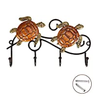Echolife Mermaid Wall Mounted Key Holder with 4 Hooks Vintage Design Iron Wall Hanging Hook for Keys Coats Bags Towel Wall Decoration