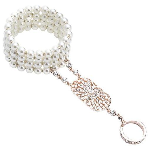 KQueenStar Bracelet Ring 1920 Accessories – Adjustable Pearls Bracelet Ring Set Bracelet for Women Vintage Flapper Costume for Party Great Gatsby
