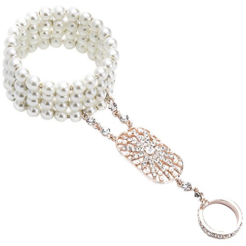 - 413023Z3WgL - 1920s Bracelet Ring Accessories Set Great Gatsby Adjustable Bracelet Flapper Girl Pearl For Party