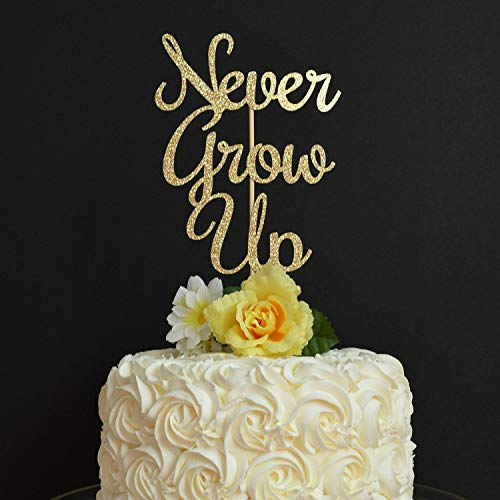 Never Grow Up Tortenaufsatz, Glitzer-Kuchenaufsatz, 1. Geburtstag, Babyparty, Lebensmittel-Dekoration, Peter Pan Party-Thema width 5