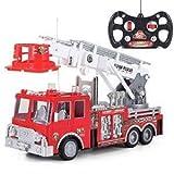 Prextex 13'' Ferngesteuertes Feuerwehrauto mit Blaulicht, Sirene und ausziehbarer Leiter, Bestes Geschenk für Jungen