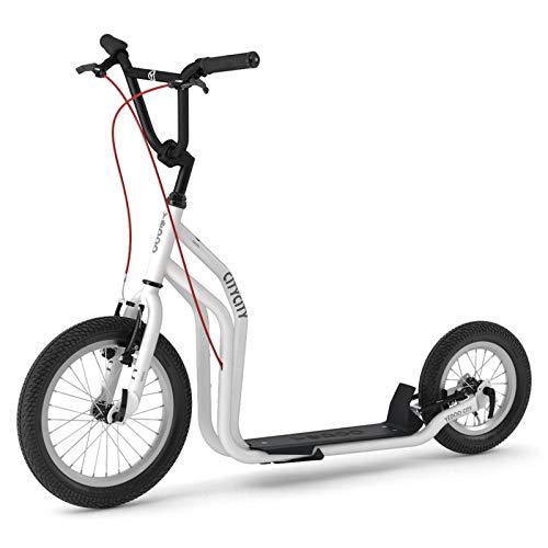 Yedoo City Roller New Modell 2018 | Tretroller White - Black | Kickbike - mit Luftbereifung ab 140 cm - 178 cm Körpergröße bis 120 Kg Scooter kommt teilmontiert im Karton