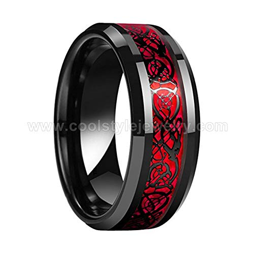 ZHOUYF RING Verlobungsringe 8 Mm Schwarz Hochzeitsband Männer Frauen Wolfram Hochzeitsband Ring Mit Roten Und Schwarzen Drachen Inlay, 10# (Wolfram-frauen-verlobungsring)