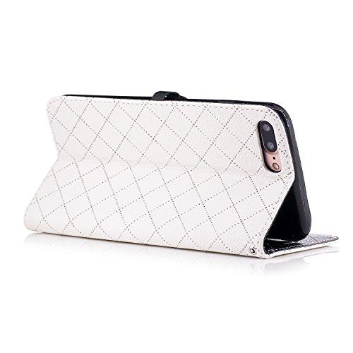 Coque Cuir iphone 7 Plus, Meet de Design à carreaux de mode rétro amour pur Étui Housse en Cuir Ultra-mince Avec La Fonction Stand pour iphone 7 Plus Housse - rose blanc