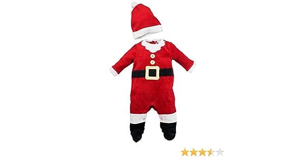 fb5a708ab8e8f Costume dors bien bébé déguisement en velours avec bonnet - Père Noël T. 62 68  (3 6 mois)  Amazon.fr  Jeux et Jouets
