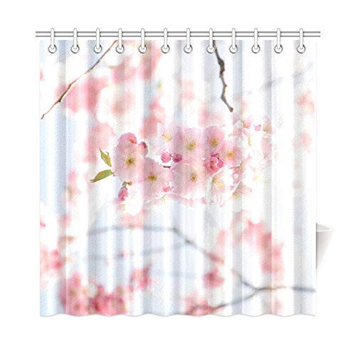 Presock Duschvorhänge, Home Decor Bath Curtain Cherry Tree Cherry Blossom Sunny Flowers Blooming Polyester Fabric Waterproof Shower Curtain for Bathroom, 60 X 72 Inch Shower Curtains Hooks Included