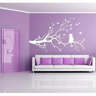 Adesiviamo Cat_On_Tree_M Wall Sticker, PVC, Black, 40 x 40 cm