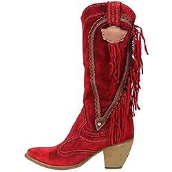 Botines De Tacón Alto con Flecos Borlas para Mujer Botas Altas Las Rodillas Alto Slip-on Zapatos De Invierno Otoño Botas De Tacón para Mujer Botines Vaquero con Flecos (EU:39, Rojo)