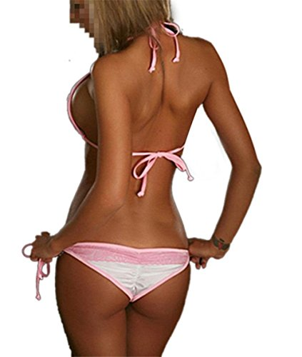 Aidonger Damen Neckholder Bikini Mit Lace Badeanzug Bademode Rosa