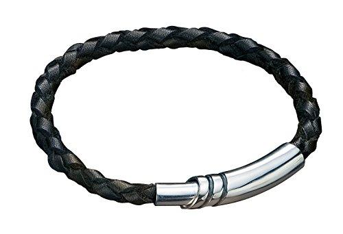 Fred Bennett Herren Armband 925 Sterling Silber Leder 21 cm schwarz B2915
