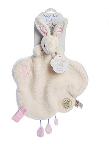 Ragtales Luxury Soft Toy / Comforter - Baby Fifi Comforter - Cream Velour Rabbit Comforter with additional velcro loop for holding a dummy..
