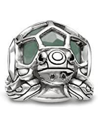 Thomas Sabo Women-Bead Turtle Karma Beads 925 Sterling Silver blackened Zirconia black aventurine green K0194-586-33