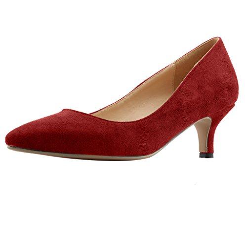Calaier Damen Cahalfway 5.5CM Stiletto Schlüpfen Pumps Schuhe Rot