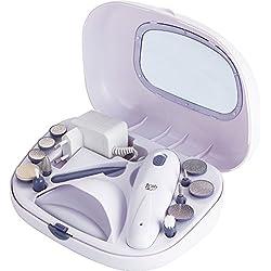 Jata Set de manicura y pedicura SM110B - Sin cable, Recargable, Incluye secador de uñas, 2 velocidades, Estuche con tapa transparente, 13 accesorios,