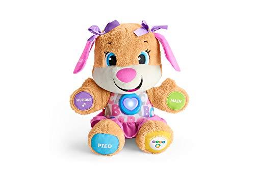 Fisher-Price la sœur de Puppy Eveil Progressif jouet bébé, peluche interactive, plus de 50 chansons et 3 niveaux, version française, 6 mois et plus, FPP52