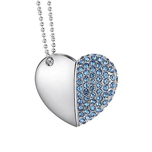 Leaders 32gb cuore diamante usb 2.0 ad alta velocità unità di archiviazione flash memory pen flash drive pendrive regolo blu