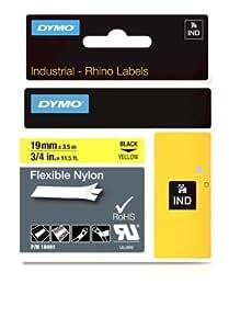 Dymo 18491 Étiquettes Industrielles Autocollantes en Nylon Rhino, 19mmX3,5M, Impression en Noir sur Fond Jaune