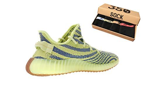 Boost 350 v2 Männer Laufschuhe Damen Atmungsaktiv Knit Trainingsschuhe Laufsport Fitness Sportschuhe Sneakers (40 EU, Gelbes Zebra)