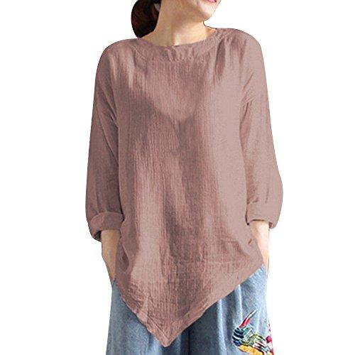 MRULIC Damen Leinen Gemütlich Leinen Dünnschnitt Lose langärmelige Bluse T-Shirt Pullover(Y2-Khaki,EU-42/CN-L)