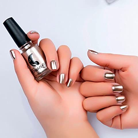 Kunst Nagel Spiegel Nagellack Überzug Silber Paste Metall Farbe Edelstahl Spiegel Silber Nagellack für Nail Art (Gold)