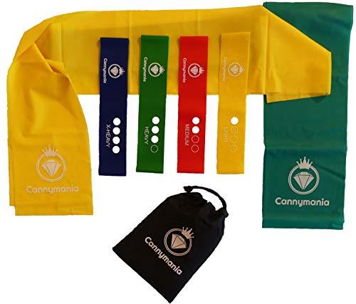 Cannymania 6er Set Gymnastikbänder | 4 Loops + 2 Lange Fitnessbänder |mit PDF Übungsanleitung | Widerstandsbänder Krafttraining | Gymnastik Band Set
