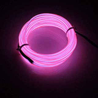 Lerway ® Rosa 5M, EL Wire Neon Kabel, Glowing Leuchtet Tron Electroluminescent Beleuchtung Licht, EL Draht Mit Batterie Trafo für Weihnachten,Party,Kostüm Rave, Geburtstag, Schuhbänder