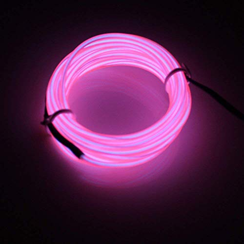 Lerway 5 M Colorful Luminous El Wire Electro Luminescence Cable LED Glowing Light Flexible EL Wire Neon Light + Controller Box For Bedroom Decoration Home Kitchen Garden Coffee Restaurant Party Bar Club(Rosa) -