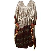 Mogul Interior Womens Maxi Kaftan Beige Printed Kimono Tassel Lounge Wear One Size