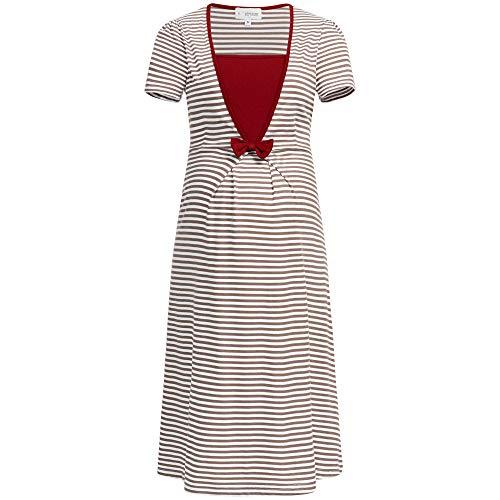 Herzmutter Umstandsnachthemd-Stillnachthemd | Schwangerschafts-Nachthemd mit Stillfunktion | Nachtwäsche für Schwangerschaft-Stillzeit | Blumen-Muster-Streifen-Maritim | 2800 (L, Taupe/Weiß) -