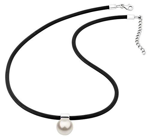 Nenalina Halskette in schwarz und Anhänger mit 12 mm weißer Swarovski Perle Anhänger 925er Sterling Silber | Damen-Kette aus Kautschuk | Damen-Halskette mit Anhängern | Länge 42+5cm | KAS-344