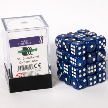 ADC Blackfire Entertainment 91716 Blackfire Würfel Box 12mm D6 36 Dice Set Marmoriert Dunkelblau - Adc-ersatz