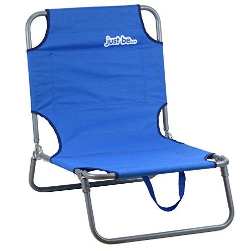 just be... Chaise Longue de Jardin et de Plage Pliable Bleu Foncé